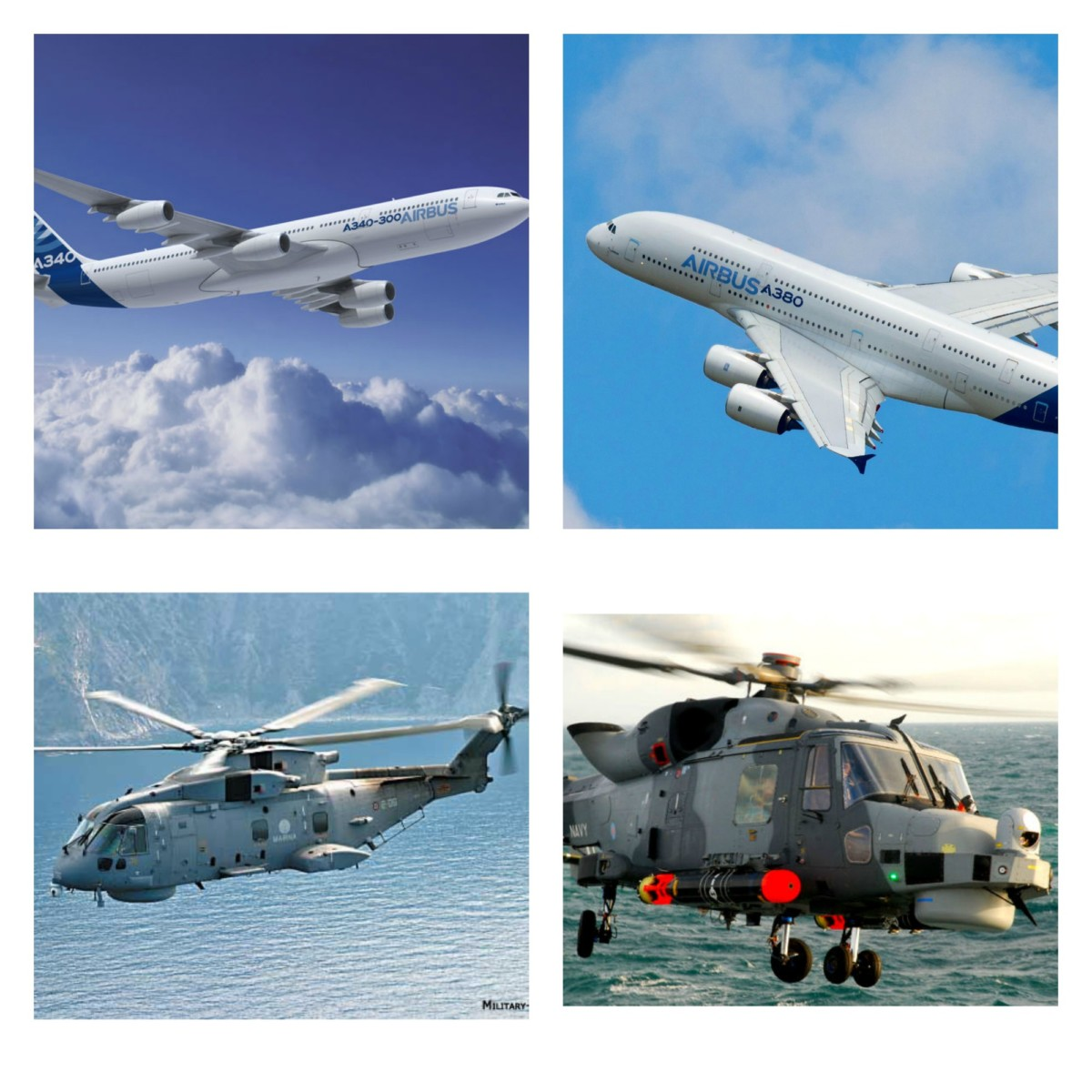 """Airbus A340 and A380, Helicopters: EH 101 and AW159 """"Wildcat"""""""